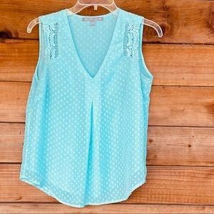 Daniel Rainn sleeveless blouse in mint polka dot